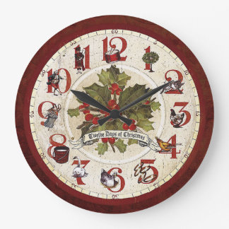 Vintage Twelve Days of Christmas Large Clock