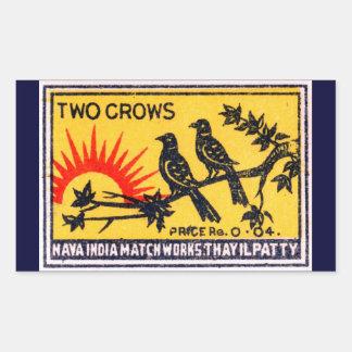 Vintage Two Crows Match Label Rectangular Sticker