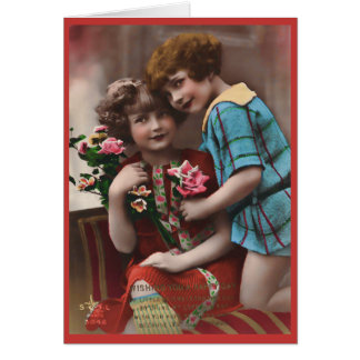 Vintage Two Little Girls Friendship Greeting Card