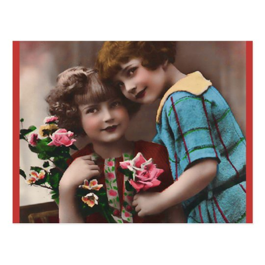 Vintage Two Little Girls Friendship Postcard