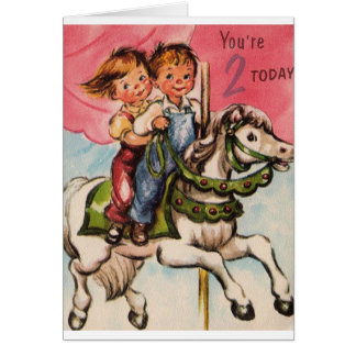 Vintage Two Year Old Birthday Card