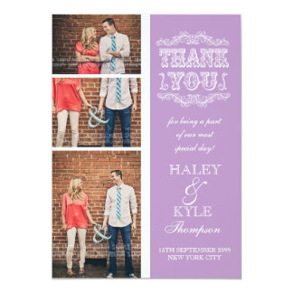 Vintage Type Purple Wedding Thank You Photo Cards 13 Cm X 18 Cm Invitation Card