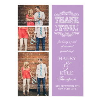 Vintage Type Purple Wedding Thank You Photo Cards Personalized Invitation