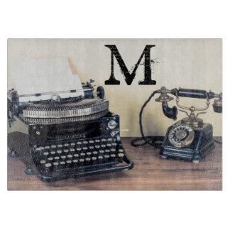 Vintage Type Writer Monogram Glass Cutting Board
