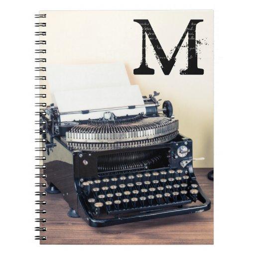 Vintage Type Writer Monogram Initial Note Book