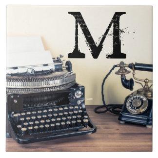 Vintage Type Writer Retro Monogram Display Tile