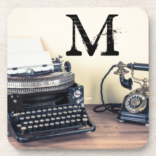 Vintage Type Writer Retro Monogram Drink Coaster