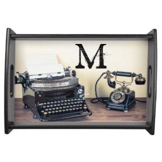 Vintage Type Writer Retro Monogram Serving Tray