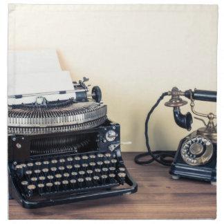 Vintage Type Writer Retro Telephone 1950 Napkins