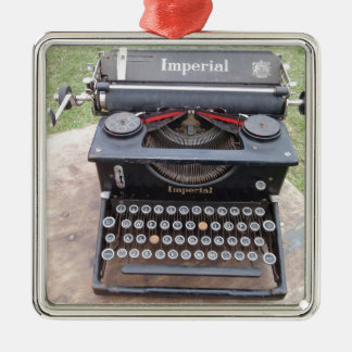 Vintage Type Writer Silver-Colored Square Decoration