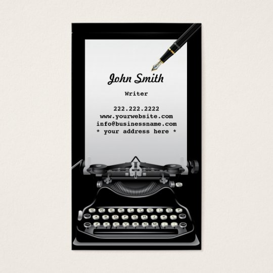 Vintage Typewriter and Pen Writer Business Card