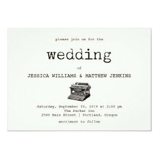 Vintage Typewriter and Text Wedding Invitation