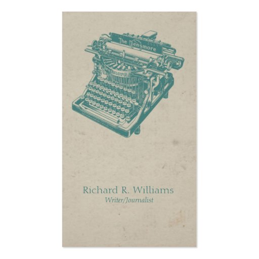 Vintage Typewriter Blue Business Card Template