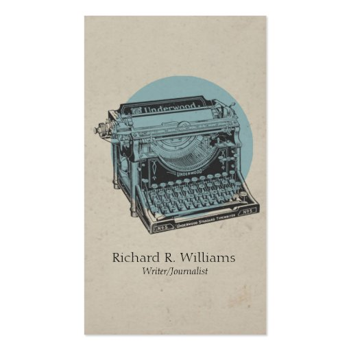 Vintage Typewriter Blue with Circle Business Card Template
