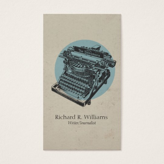 Vintage Typewriter Blue with Circle Business Card