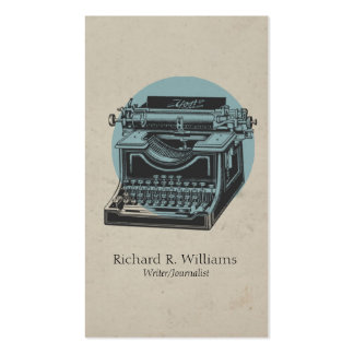 Vintage Typewriter Blue with Circle Business Card Templates