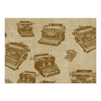Vintage Typewriter Collage Custom Invitation