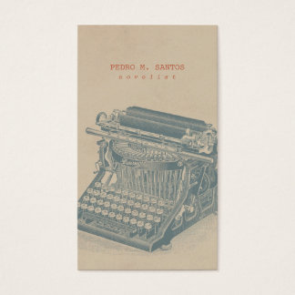 Vintage Typewriter Cool Blue Retro Modern Simple Business Card