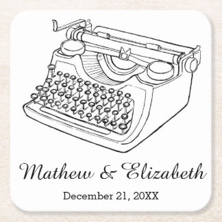 Vintage Typewriter Custom Wedding Square Paper Coaster