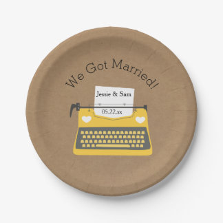 Vintage Typewriter Customized Wedding Paper Plates 7 Inch Paper Plate