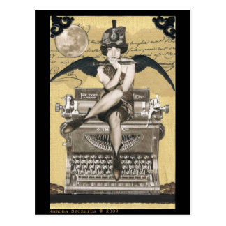 Vintage Typewriter Fairy Postcard