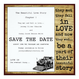 Vintage Typewriter Gay Save The Date 13 Cm X 13 Cm Square Invitation Card