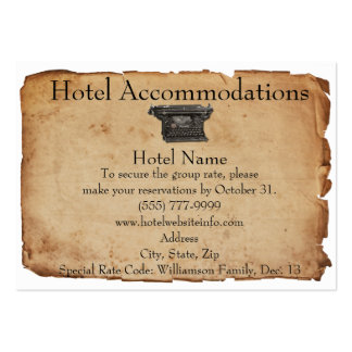 Vintage Typewriter Hotel Accommodation Cards Pack Of Chubby Business Cards