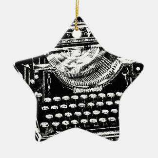 Vintage Typewriter Illustration Ceramic Star Decoration