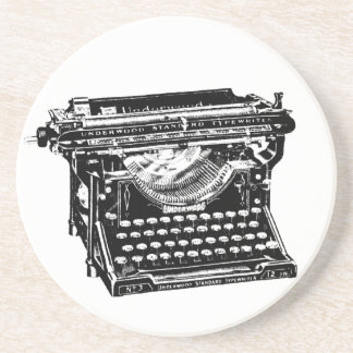 Vintage Typewriter Illustration Coaster