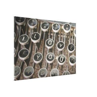"Vintage Typewriter Keys ""I Love You"" Stretched Canvas Prints"
