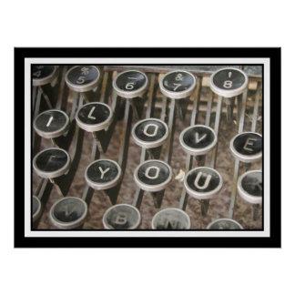 """Vintage Typewriter Keys """"I Love You"""""""