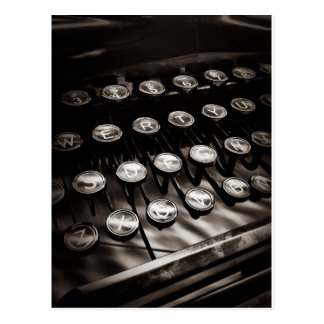 Vintage Typewriter Keys in Black and White Postcard
