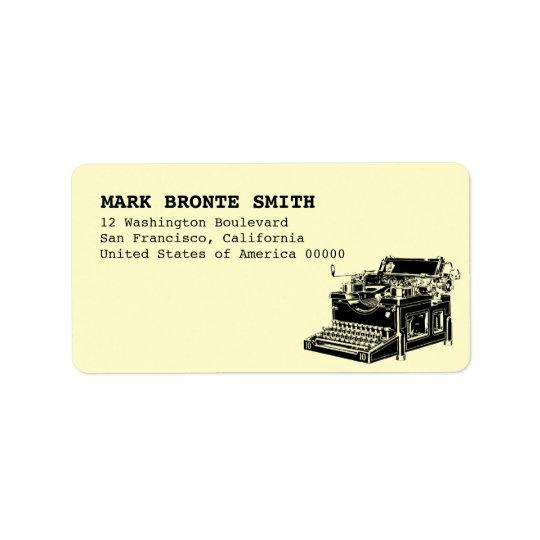 Vintage Typewriter Label Address Address Label