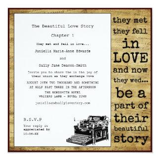 Vintage Typewriter Lesbian Wedding Card