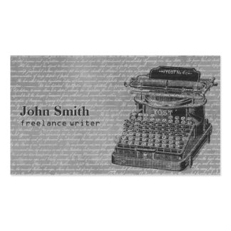 Vintage Typewriter & Old Scripts Background Writer Business Card Template