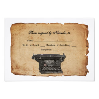 Vintage Typewriter Parchment RSVP 9 Cm X 13 Cm Invitation Card