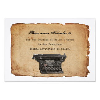 Vintage Typewriter Parchment Save the Date 9 Cm X 13 Cm Invitation Card