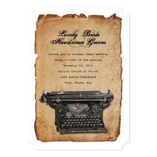 Vintage Typewriter Parchment Wedding Invitation