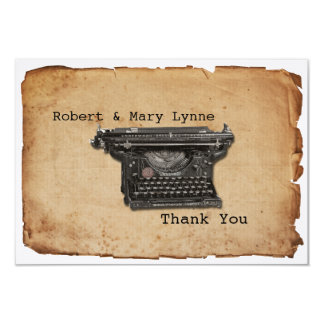 Vintage Typewriter Personalize Flat Thank You Note 3.5x5 Paper Invitation Card