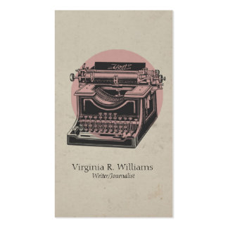 Vintage Typewriter Pink with Circle 4 Business Card