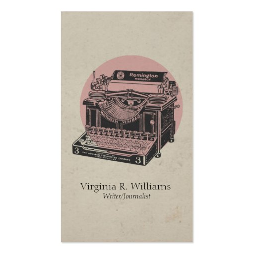 Vintage Typewriter Pink with Circle 5 Business Card Template