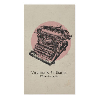 Vintage Typewriter Pink with Circle Business Card