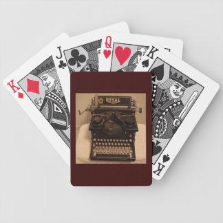 vintage typewriter, playing cards, writing, writer poker deck