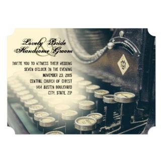 "Vintage Typewriter Wedding Invitation 5"" X 7"" Invitation Card"