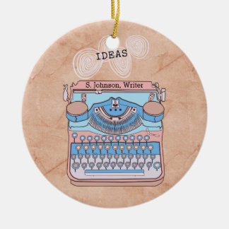 Vintage Typewriter with Swirling Writer Ideas Christmas Ornament