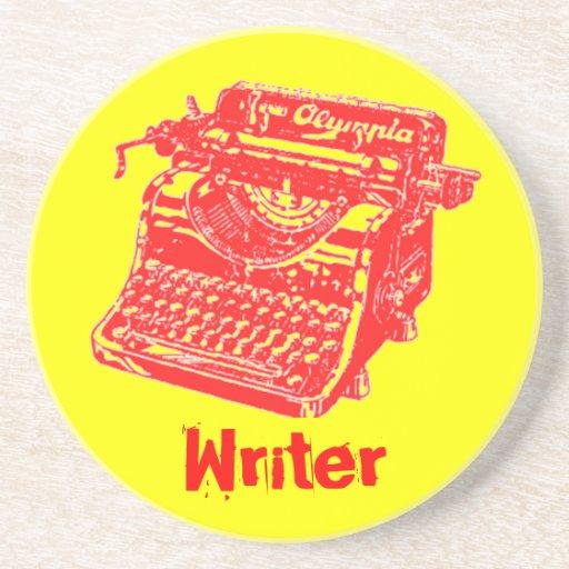 """Vintage Typewriter """"Writer"""" Drink Coaster"""