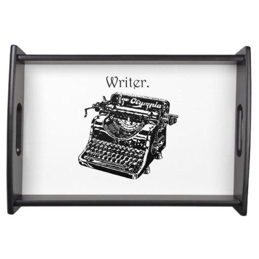 Vintage Typewriter Writer Ink Drawing Sketch Serving Trays