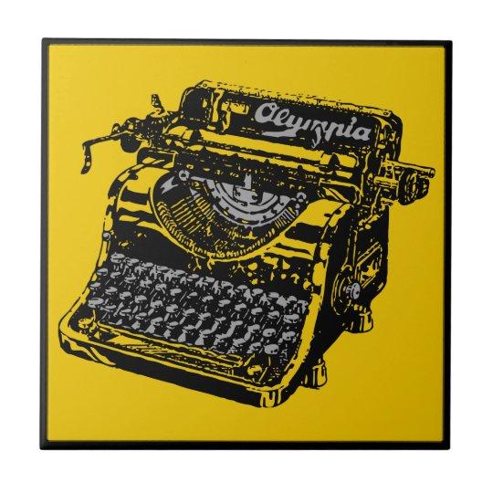 Vintage Typewriter Yellow and Black Ceramic Tile