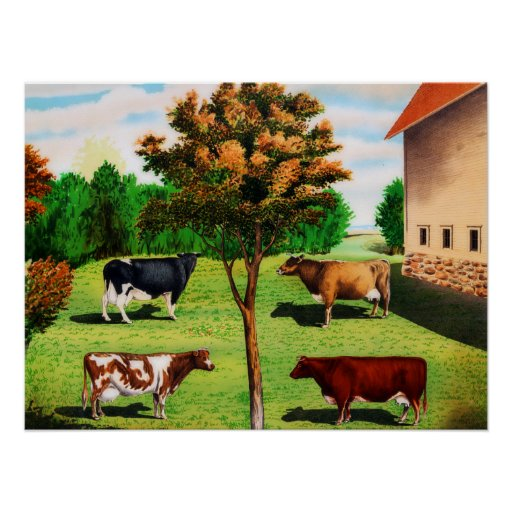 Vintage Typical Cow Breeds On The Farm Print