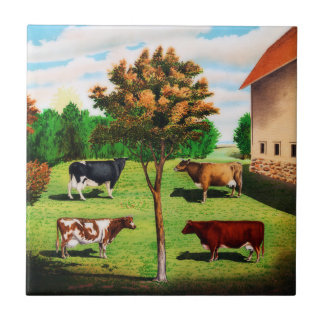 Vintage Typical Cow Breeds On The Farm Small Square Tile